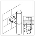 Picture of Tube Bracket Kit - Adjustable - Fixes Tube to Steel-Wood-Masonry