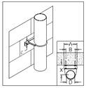 Picture of Tube Bracket Kit - Fixed Centres - Fixes Tube to Steel-Wood-Masonry